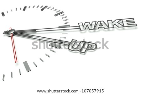 Clock with the words Wake up, concept of time