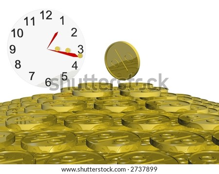Clock with two red arrows and many gold coins