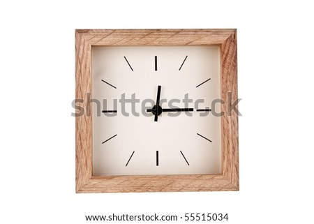 Clock with wood frame - stock photo