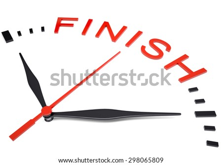 Clock with word finish on isolated white background