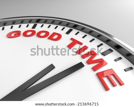 Clock with words good time on its face