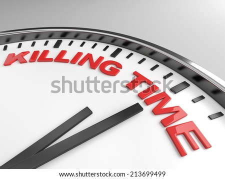 Clock with words killing time on its face - stock photo