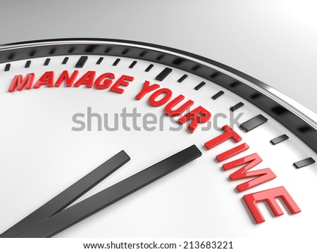 Clock with words manage your time on its face - stock photo