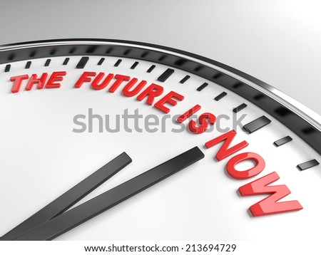 Clock with words the future is now on its face - stock photo