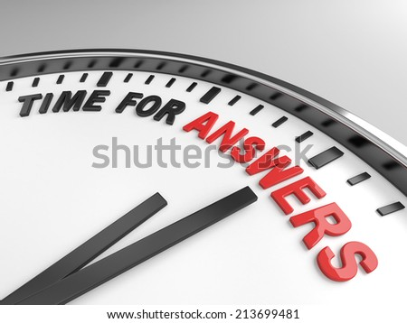 Clock with words time for answers on its face - stock photo