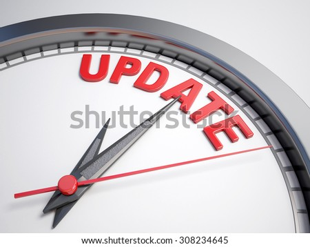 Clock with words time to update on its face - stock photo