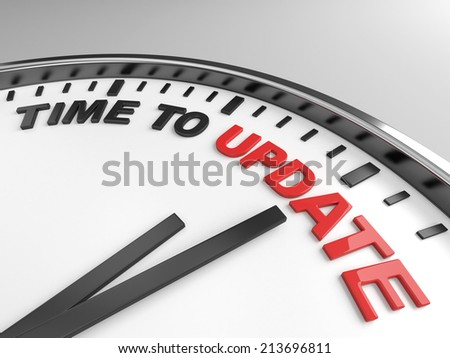 Clock with words time to upgrade on its face - stock photo