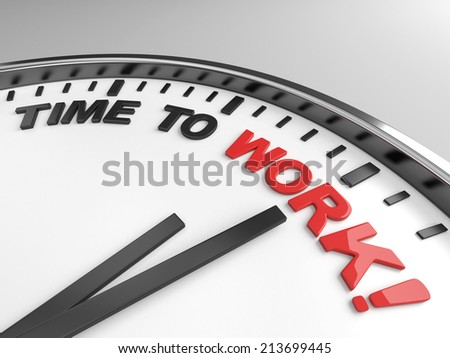 Clock with words time to work on its face - stock photo