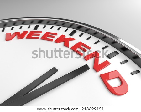 Clock with words weekend on its face - stock photo