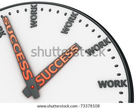 "Clock with words ""work"" instead of digits. - stock photo"