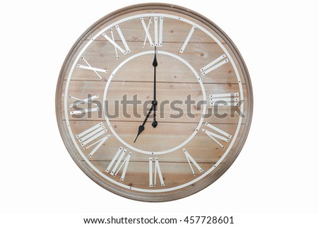 clock wood isolated on  white wall ,Time 7.00 am