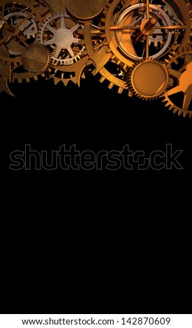Clock Work Cogs plus print space - 2 - stock photo