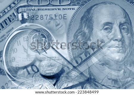 Clocks and American currency. Time is money concept - stock photo