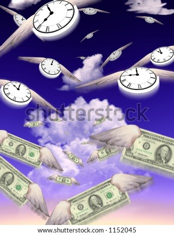 Clocks and Money fly in groups toward an unknown but similar destination - stock photo