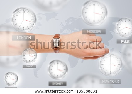 Clocks and time zones over the world illustration concept - stock photo