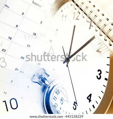 Clocks, calendar pages and diary