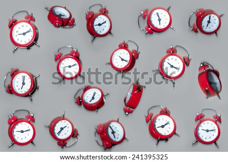clocks falling from the air - stock photo