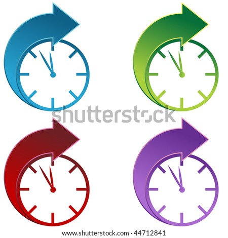 Clocks moving forward isolated on a white background. - stock photo