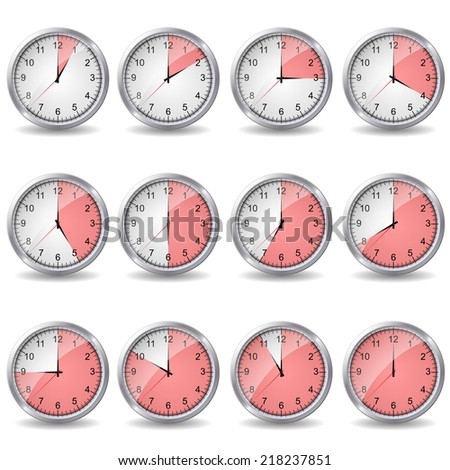 clocks showing different time  - stock photo