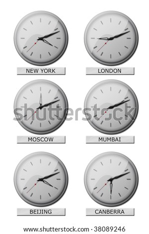 Clocks showing local times all over the world - stock photo