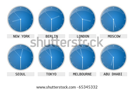clocks showing time of different places and timezones - stock photo