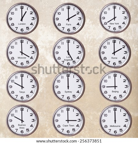 clocks with time zone - stock photo