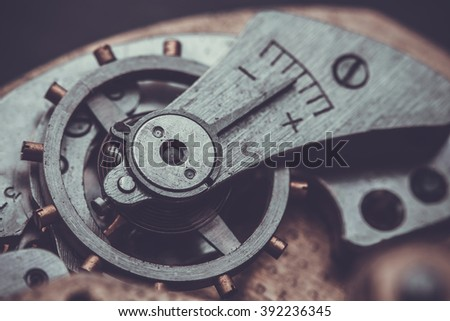 Clockwork Background. Close-up Of Old Clock Watch Mechanism  - stock photo
