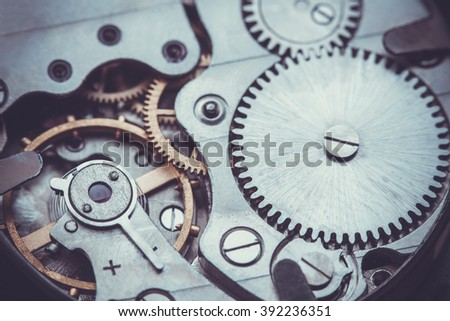 Clockwork Background. Close-up Of Old Clock Watch Mechanism