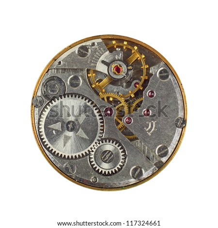 Clockwork details, pinions and wheels macro closeup isolated on white - stock photo