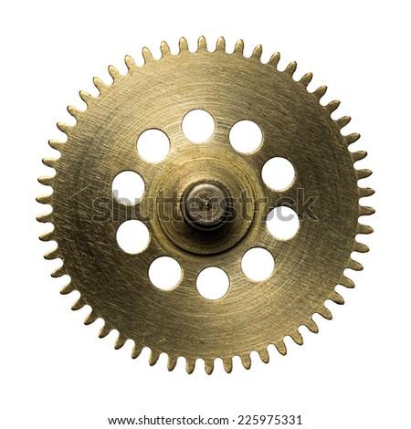 Clockwork gear, metal cogwheel. Isolated on white. - stock photo