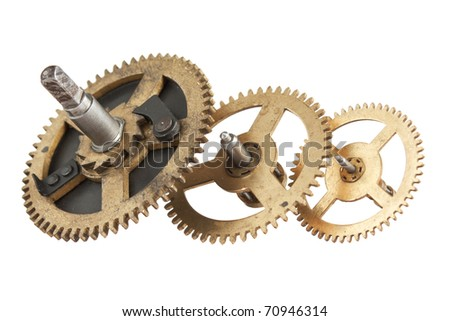 clockwork gears isolated on white background
