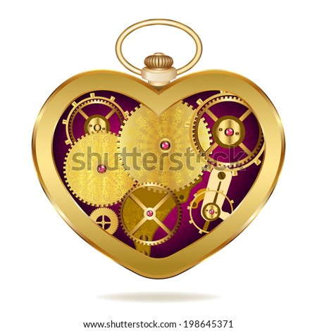 Clockwork heart-shaped clock. Isolated on white background. Original valentines - stock photo