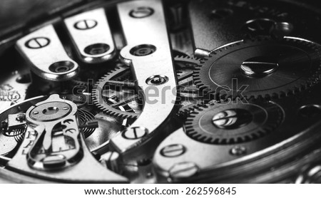 Clockwork in black and white. - stock photo