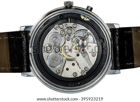clockwork old mechanical pocket watch, high resolution and detail - stock photo