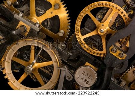 clockwork on a black background - stock photo