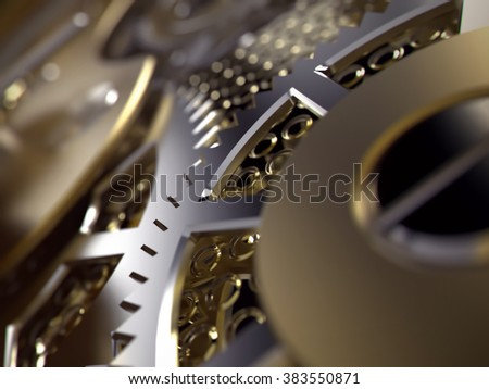 Clockwork or a machine inside. Closeup gears and cogs. Realistic Industrial 3d illustration. - stock photo