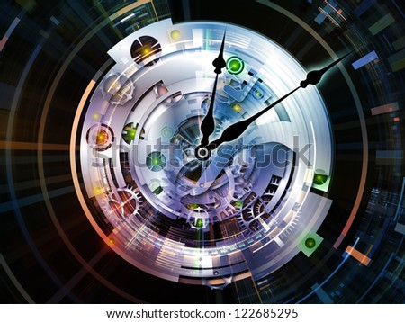 Clockwork Series. Abstract arrangement of clock gears, numbers and fractal elements suitable as background for projects on time, modernity, science and technology - stock photo