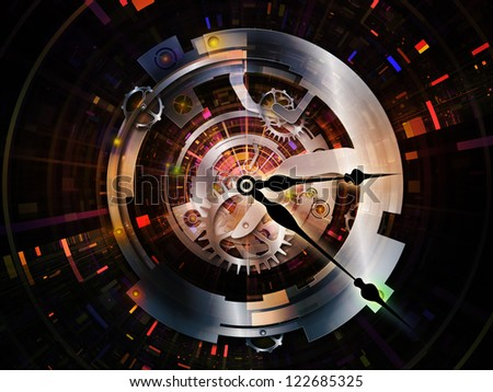 Clockwork Series. Arrangement of clock gears, numbers and fractal elements on the subject of time, modernity, science and technology - stock photo
