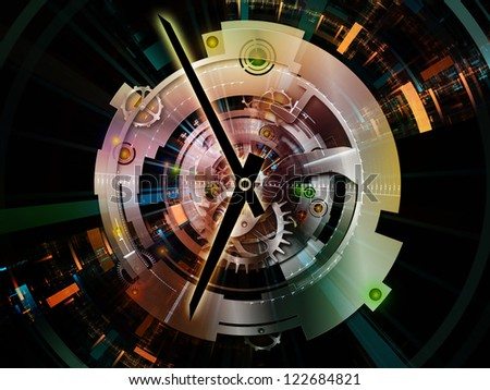 Clockwork Series. Artistic background made of clock gears, numbers and fractal elements for use with projects on time, modernity, science and technology - stock photo