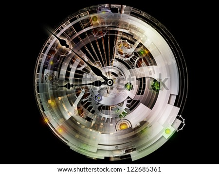 Clockwork Series. Backdrop design of clock gears, numbers and fractal elements to provide supporting element for illustrations on time, modernity, science and technology - stock photo