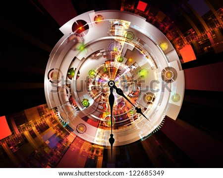 Clockwork Series. Backdrop of clock gears, numbers and fractal elements on the subject of time, modernity, science and technology - stock photo