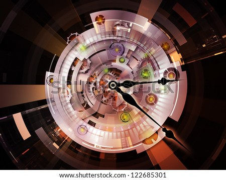 Clockwork Series. Background composition of  clock gears, numbers and fractal elements to complement your layouts on the subject of time, modernity, science and technology - stock photo