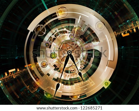 Clockwork Series. Composition of clock gears, numbers and fractal elements suitable as a backdrop for the projects on time, modernity, science and technology - stock photo
