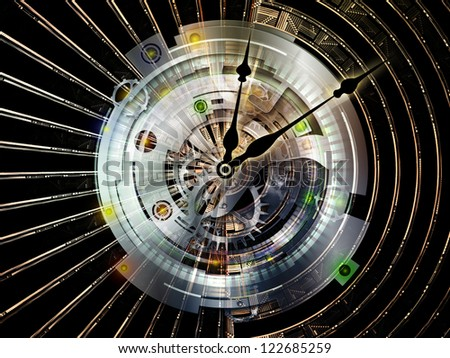 Clockwork Series. Composition of  clock gears, numbers and fractal elements to serve as a supporting backdrop for projects on time, modernity, science and technology - stock photo