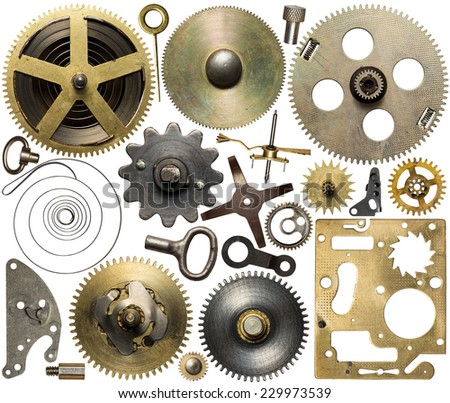 Clockwork spare parts. Metal gear, cogwheels and other details. - stock photo