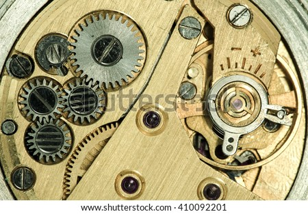 clockwork vintage mechanical watch, high resolution and detail - stock photo