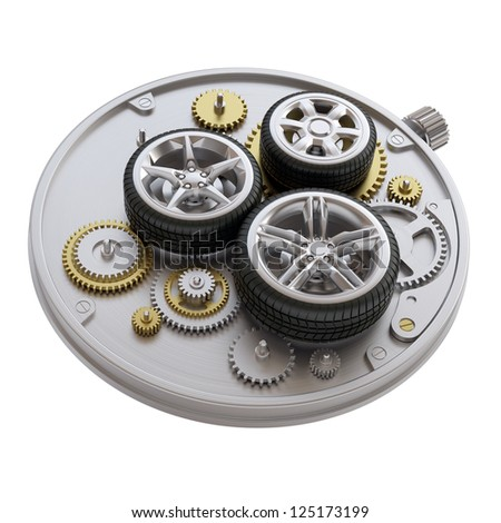 Clockwork with car wheels isolated on white background. 3d concept. - stock photo