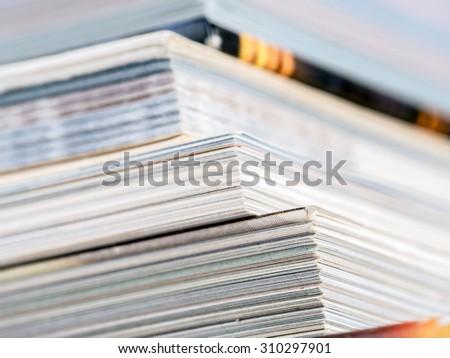 Cloeup of pile of books - stock photo