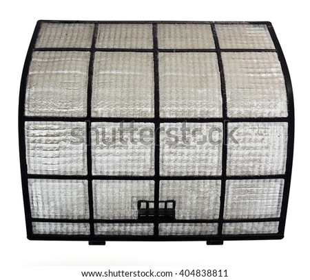 Clogged AirCon filter with a visible thick layer of dust - stock photo
