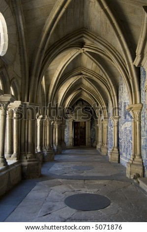Cloister gallery of Se Cathedral in Porto, Portugal